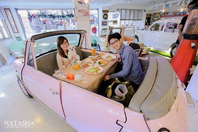 寵物友善餐廳│台北士林天母美食│PS BUBU汽車餐廳~坐在金龜車裡享用南加州義大利餐點(有提供寵物餐)